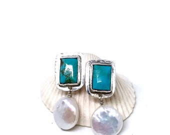 Coin Pearl & Turquoise Earrings