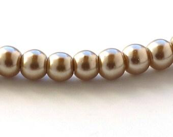 Light Coffee Glass Pearls 4mm Round Beads Full Strand