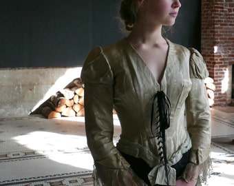 Victorian Corseted Bodice with Juliet Sleeves XS