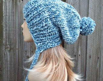 Peppermint Light Mixed Blue Slouchy Womens Knit Hat - Charlotte Ear Flap Pom Pom Beanie - READY TO SHIP