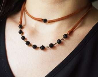 Statement Necklace Choker Necklace Leather Necklace Leather Jewelry Black Necklace Multi Strand Beaded Necklace Women Gift Women Jewelry Set