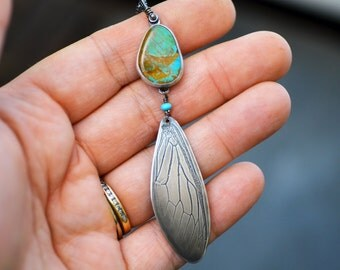 Sterling Silver Turquoise and Cicada Wing Necklace. Cicada Pendant. Turquoise Pendant. Sterling Turquoise Necklace.