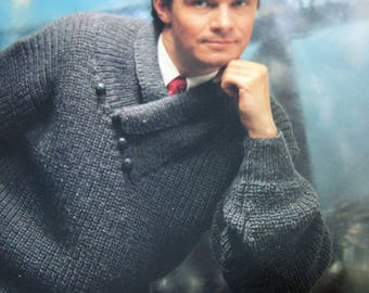 "Sweater Knitting Pattern Men Shawl Collar Jakobsdals 5426 Sizes 36 - 46"" 91 - 116 cm Worsted Weight Yarn Swedish English Original NOT a PDF"