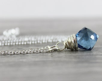 Dark Blue Quartz Necklace, Sterling Silver Necklace, Wire Wrap Pendant Necklace, Quartz Gemstone Necklace, Silver Chain Necklace