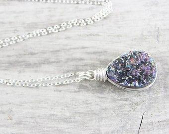 Rainbow Druzy Gemstone Necklace, Wire Wrap Necklace, Sterling Silver Necklace, Drusy Quartz Necklace, Geode Necklace, Teardrop Pendant