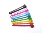22 multi color bobby pins w/ an 8mm pad (eleven colors, 2 of each) C186
