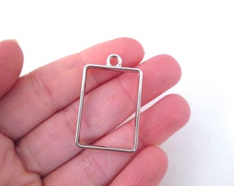 3 Silver Plated Rectangle Charms, Open Bezel Pendant, Rectangle Charms, Rectangle Pendants F91
