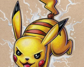 Pikachu Pokemon original colored pencil drawing on wood
