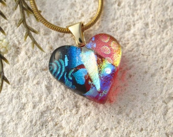 Petite Tiny Red Heart, Dichroic Necklace, Red Rainbow Heart, Gold Necklace, Glass Jewelry, Fused Glass Jewelry, Red Necklace, 062816p100