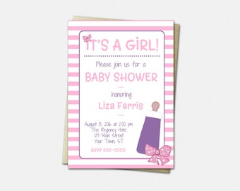 Baby Shower Invitations - Bottles and Bows Baby Shower Invitation - Girl Baby Shower Invitations