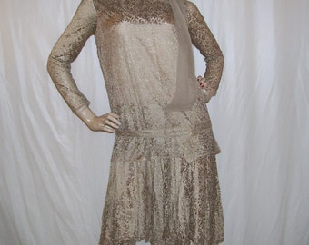1920s Flapper Dress Silk Lace Overlay Sheer Vintage 20s Pleated Skirt Adult Deco Era Theater Stage Period Costume Champagne Flapper Dress