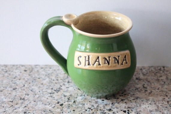 One Personalized Pottery Mug - Made To Order - Stamped Name of your Choice