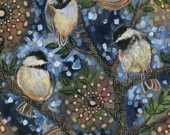 "Archival 6x6 inch Print on Wood ""Night Birds #2"""