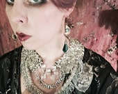 Circus Queen Gilded Crystal Fringe Collar Necklace by Louise Black