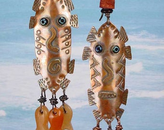 FISH GOD MASKS - Primitive Copper Mask Earrings With Red Aventurine Carved Fish