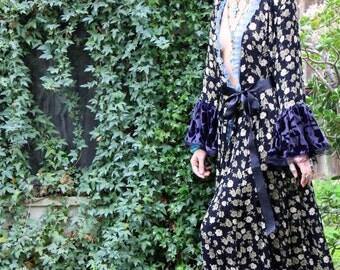 Romantic PRINCESS Blue Velvet and Floral Robe Coat Ooak