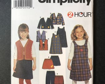 Simplicity 9854 - Easy to Sew 2 Hour Pattern - Girl's pants, skirt, jumper, jacket and vest sizes 2 thru 6X