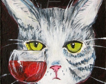Gray Tiger Cat with Red Wine Art Print - Funny Cat Art - Edith Has Issues Cat Print - Cat Gift Idea - Gift For Cat Lover - Cat with Wine