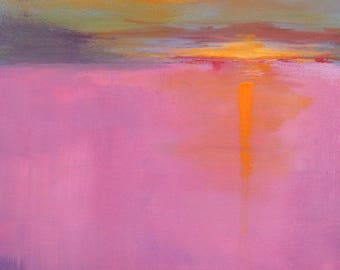 Large Seascape, Original Painting, 18x24 Canvas, Sunset Pacific Ocean, West Coast, Pink Orange, Landscape, Semi Abstract, Wall Decor