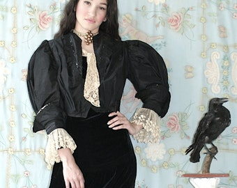 The EVA BODICE 1800's Black Gothic Victorian Bodice with Lace Sleeves Very Penny Dreadful