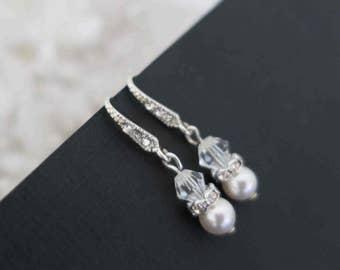 Ivory Swarovski Pearl and Crystal Bridal Earrings Brides Maid Jewelry Wedding Pearl Rhinestone Earrings Small Pearl Bridal Jewelry Set