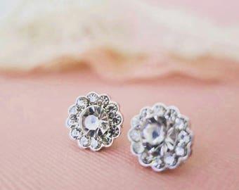 Crystal Stud Earrings Bridal Earrings Stud Wedding Studs Rhinestone Flower Studs Bridesmaid Stud Earrings Bridesmaids Gift Jewelry Petite