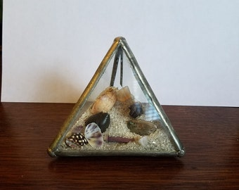 Vintage Beveled Glass Pyramid Shape Dome Bottle, w/ Beach Sand and Shells Inside