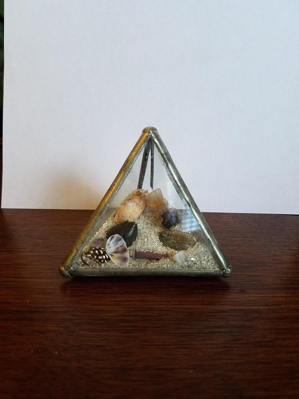 Vintage beveled glass pyramid shape dome bottle w beach sand