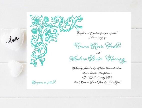 Ornate Vintage Wedding Invitations - Art Nouveau, Victorian, Flourish Wedding Invitation, Wedding Invites, Wedding Invitation, Weddings