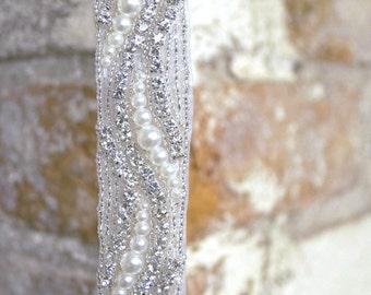 Sparkling crystal and pearl bridal belt; vintage inspired bridal sash; vintage bride; crystal wedding sash; crystal beaded applique; ocean