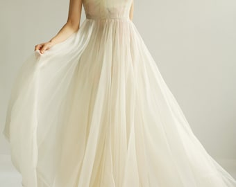 Sample SALE   ivory organza Gown, with hand-painted interior lining