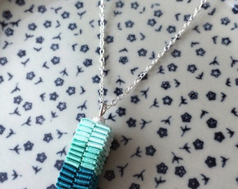 Simple Modern Petite Weaving Ribbon Pendant Silver-Plated Chain Necklace - Aqua / Tiffany Blue / Teal - Mother's Day Gift