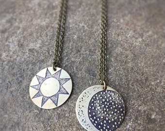 Etched Sun and Moon Necklaces - Set of Two Necklaces - Hand Drawn Etched Sun and Moon - Mismatched Sun Moon Charm Pendants - Art Jewelry