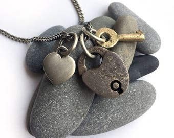 Tiny Vintage Working Padlock Skeleton Key Antique Sterling Silver Heart Tag Charm Necklace 18 Inch Curb Chain Eagle Lock Co.