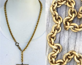 "Repro Watch chain Necklace w T bar & swivel clip  Haute jewelry. chunky drippy fancy Gold vintage Heavy brass metal chain 22"" c11"