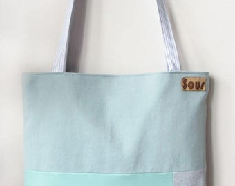 ON SALE Chasing Light // Light Blue, Aqua, Blue Faux Suede and Tropical Pattern Tote Bag