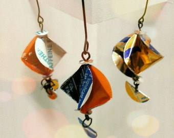 Christmas Ornaments Blue and Orange Upcycled Art Repurposed Soda Pop Cans