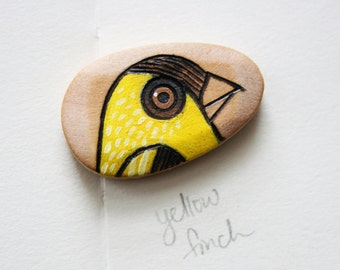 Yellow Finch Wood Burned and Hand Painted Wood Bead