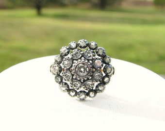 Diamond Flower Cluster Ring, Old Cut Diamonds in Silver and 18K Gold, Large and Sparkling Presence, Engagement or Statement Cocktail Ring