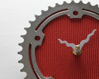 Bicycle Gear Clock - Vintage Red | Bike Clock | Wall Clock | Recycled Bike Parts Clock