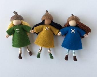 Acorn Cap Dolls-- set of three little woodland dolls
