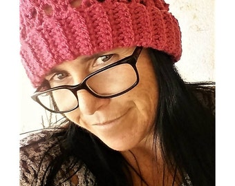 Dark Pink Cabled Crochet Hat