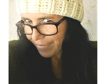 Cream Cabled Crochet Hat