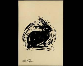 Bunny, Rabbit  Painting,  Black Illustration  art, Easter Watercolor Painting in mat Minimalist Abstract art Kathy Morton Stanion EBSQ