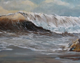 Ocean seascape oil painting wave after the storm 12x24 inches unframed