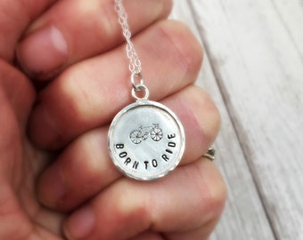 Born to Ride bike necklace, gift for her, sterling silver stamped charm, bicycle jewelry, whimsical, womens, girl gang