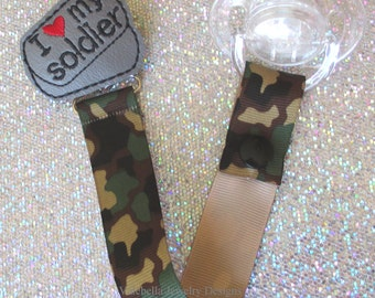 Camouflage I love my Soldier Pacifier Clip Paci Soother Mam Nook Binky Holder CHOOSE Loop Snap Military Army Brat Dog Tags new baby shower