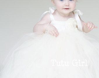 Ivory Tulle Flower Girl Dress, Ivory Tutu Flower Girl Dress, Ivory Baby Tutu Dress, Ivory Toddler Baby Tutu Dress, Girls Ivory Tutu Dress