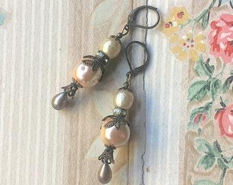 Sweet Pink Earrings Boho Bride Baroque Pearls Dangle Tear Drop Miriam Haskell Style Vintage Upcycle