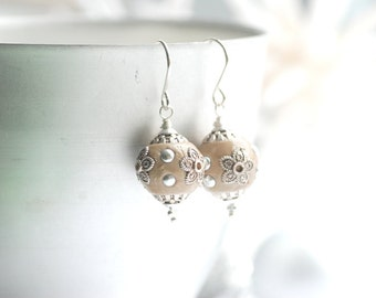 Taupe Earrings, Ornate Earrings, Neutral Jewelry, Wear With Everything Earrings, Dark Beige Earrings, Flower Earrings, Floral Jewelry